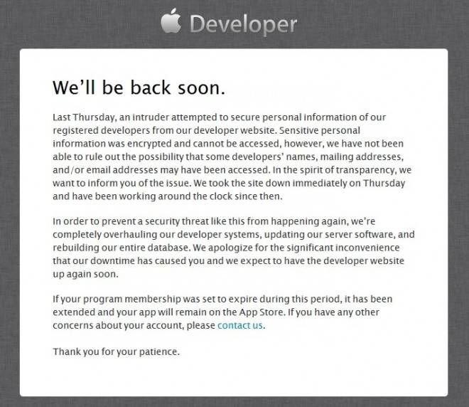 apple-developer-site-downtime-apologize