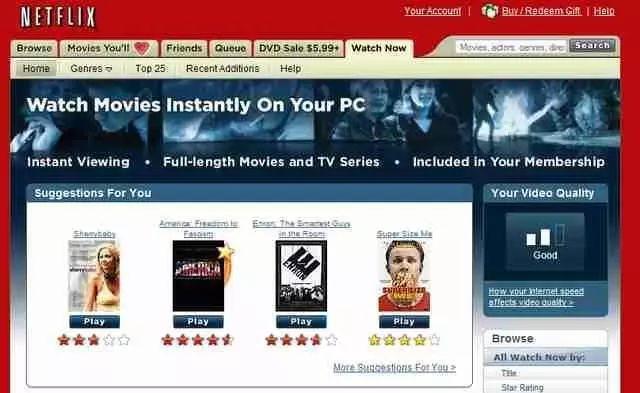 2007年Netflix上线流媒体时的页面
