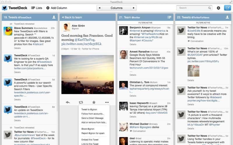 TweetDeck 桌面版具有很高的阅读效率,是除了 Twitter 之外唯一一个支持 Twitter Cards 等特性的客户端。
