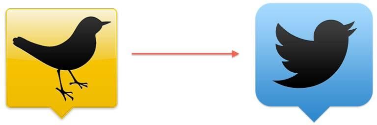 TweetDeck 的新旧 logo 变化。