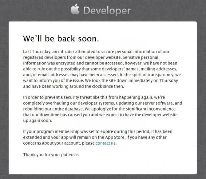 apple-developer-site-downtime-apologize