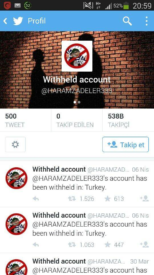 turkey twitter account blocked