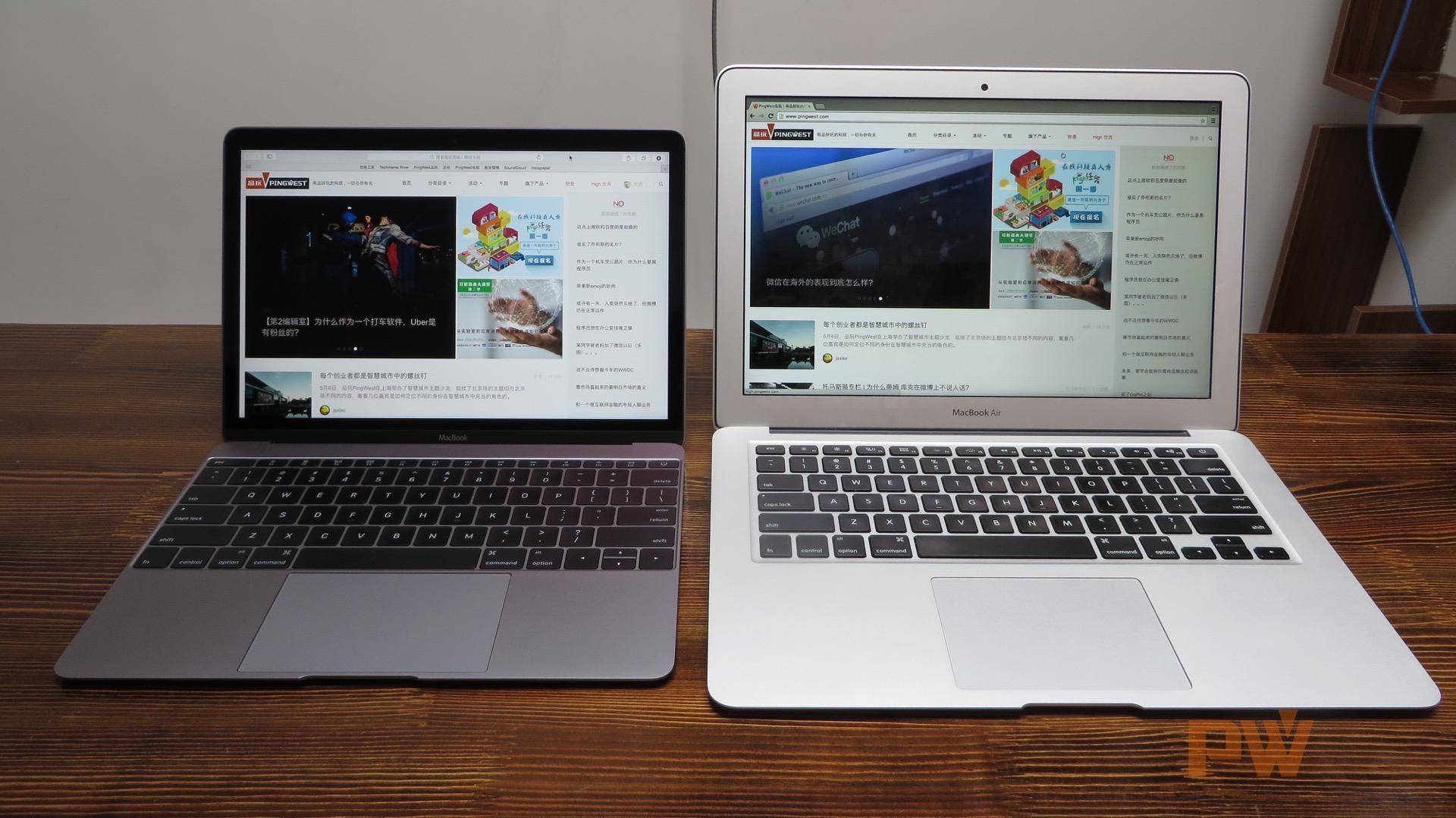 左:MacBook;右:13吋MacBook Air