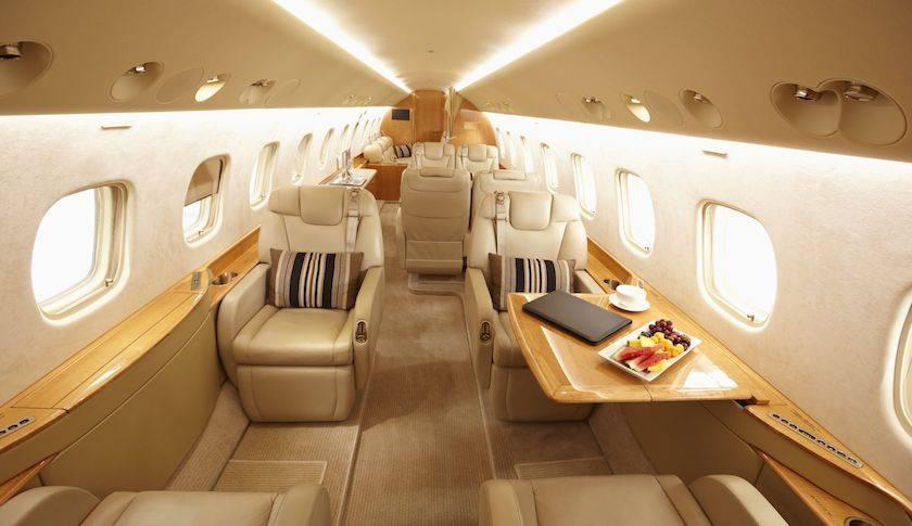 Modern interior of private jet