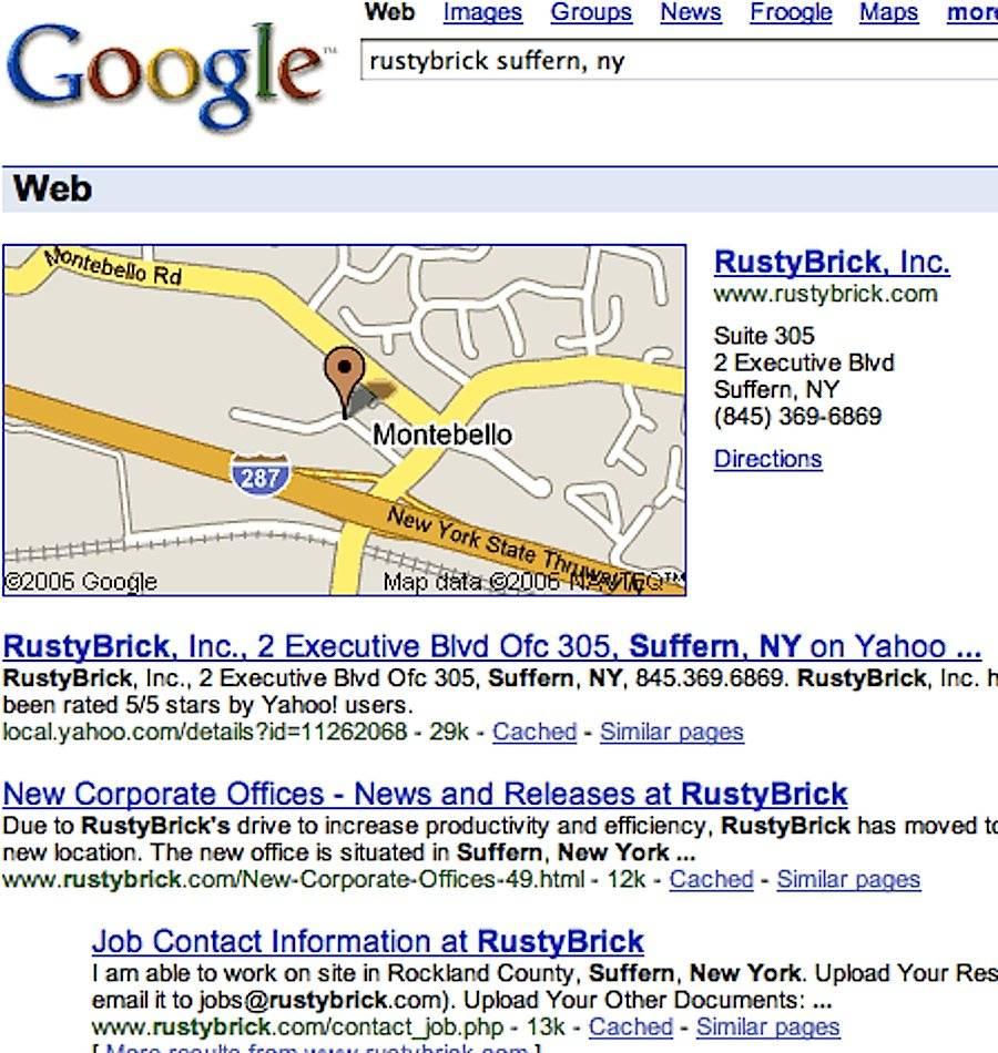 2001年的搜索结果页面,加入了地图功能