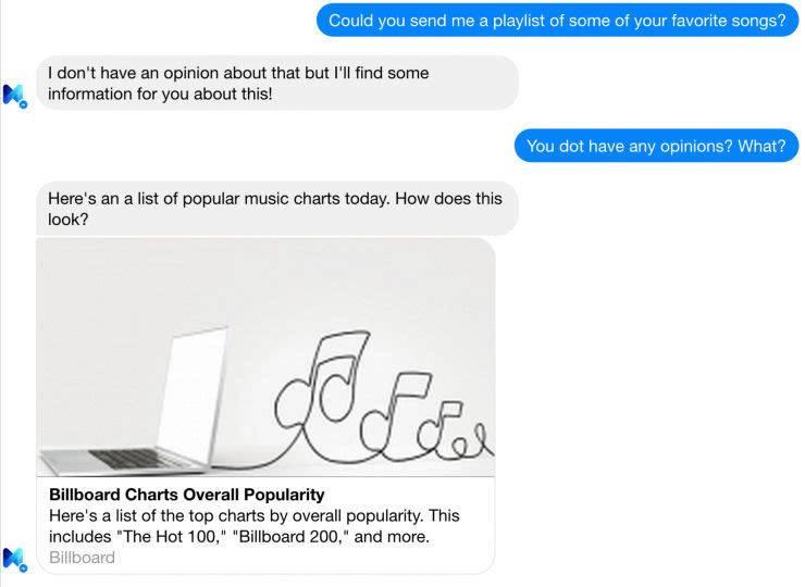图三:让 M 推荐一首歌,它会从榜单或 YouTube 上抓一个链接返回给提问者