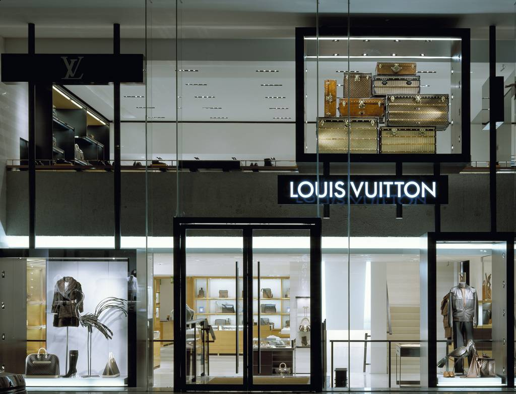 Louis Vuitton, Sloane Street, London, SW1 Victoria, United Kingdom, The Phillips Group, Louis vuitton shop front night.