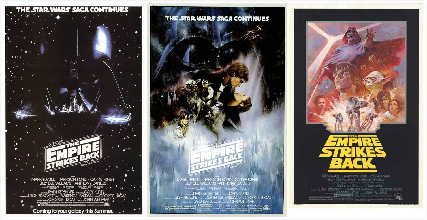 左:《星战2》预告海报;中:第一版海报;右:回归海报