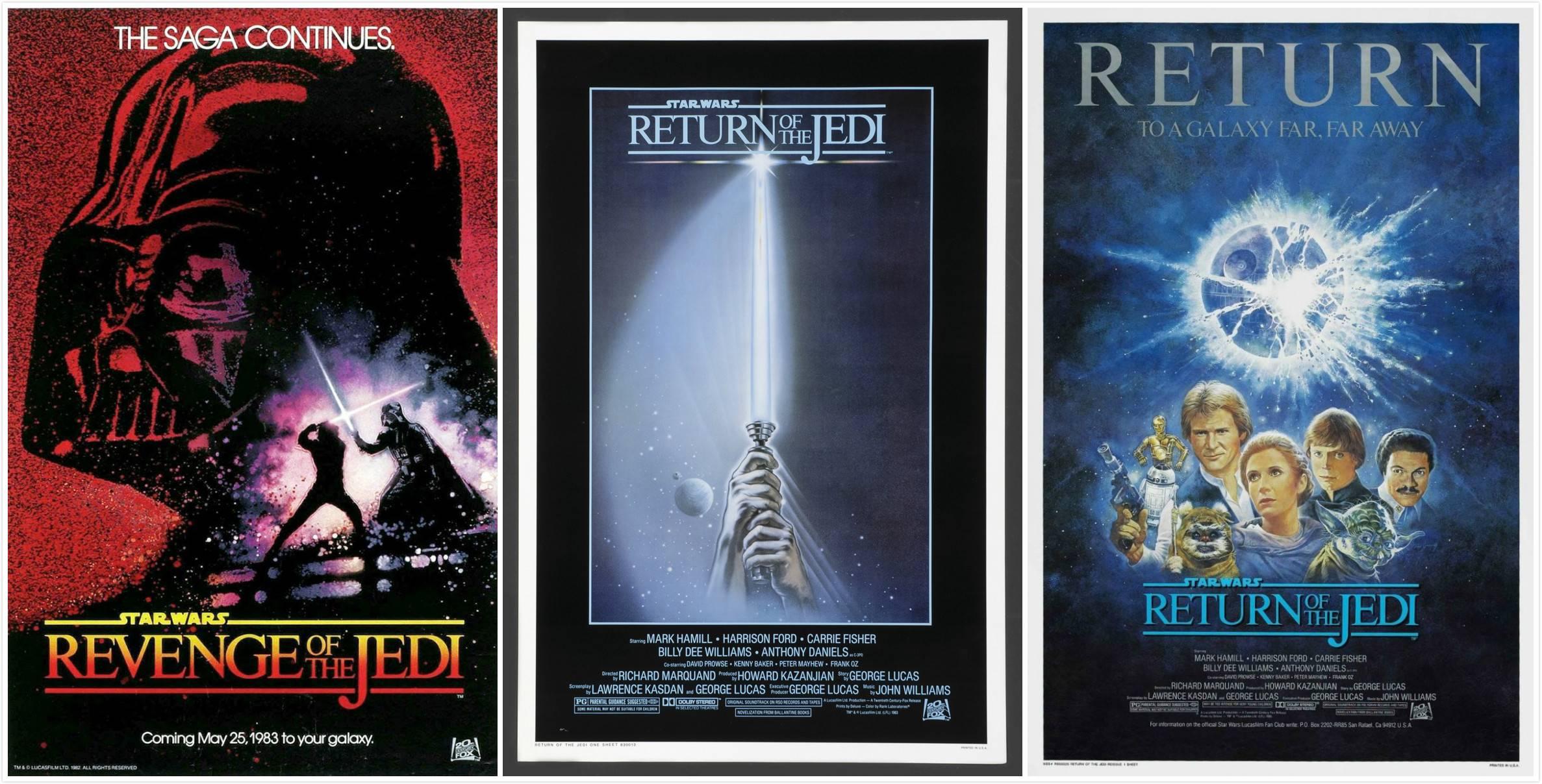 """左:《星战3》预告海报(原名""""绝地复仇"""");中:第一版海报;右:回归海报"""