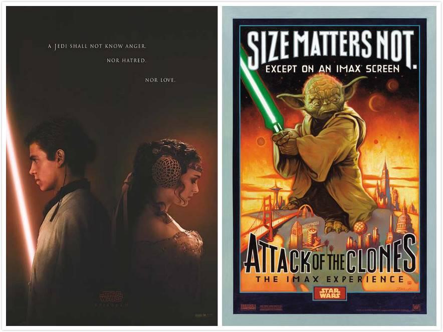 左:前传2预告海报;右前传2 IMAX版海报