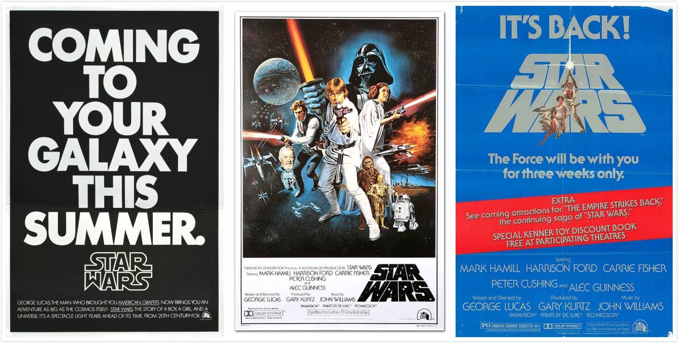 左:《星战1》预告海报;中:第三版海报:右:回归海报