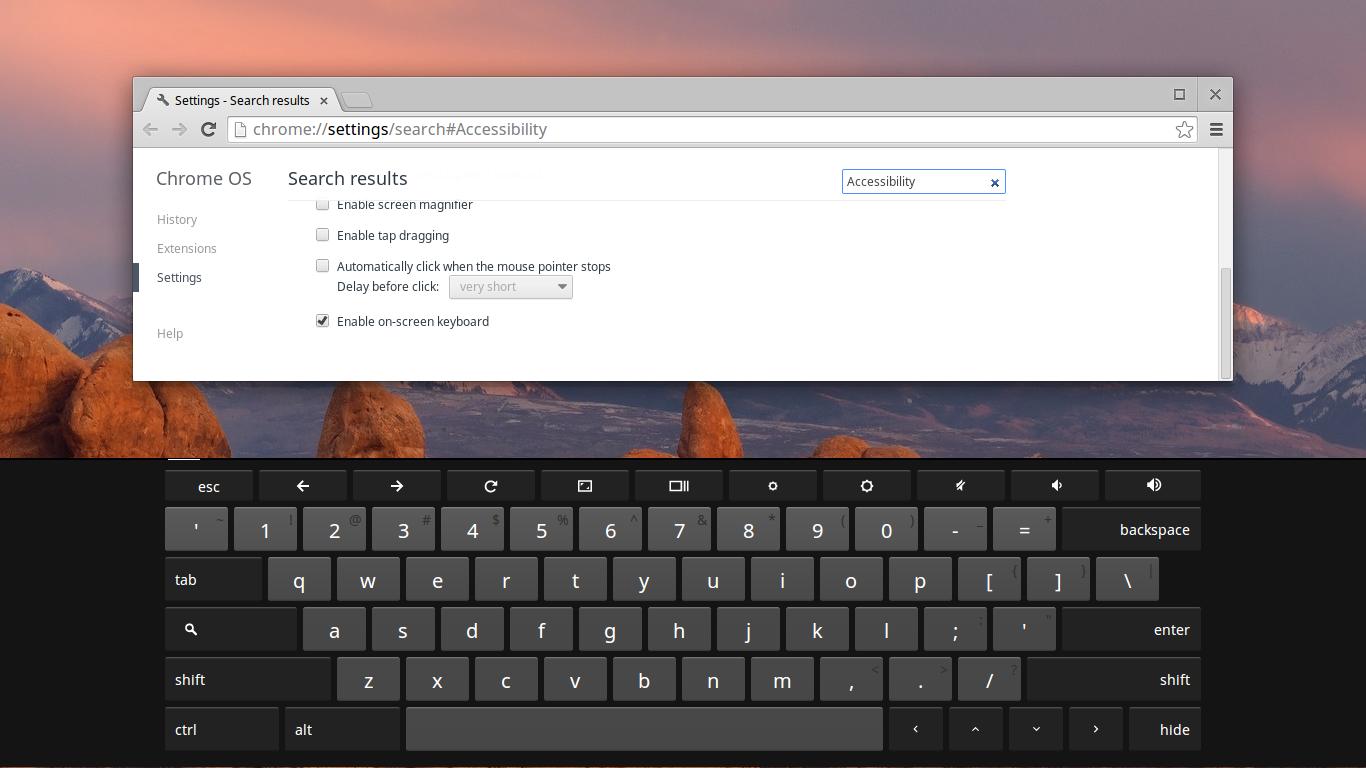 Chrome OS 上的触摸键盘