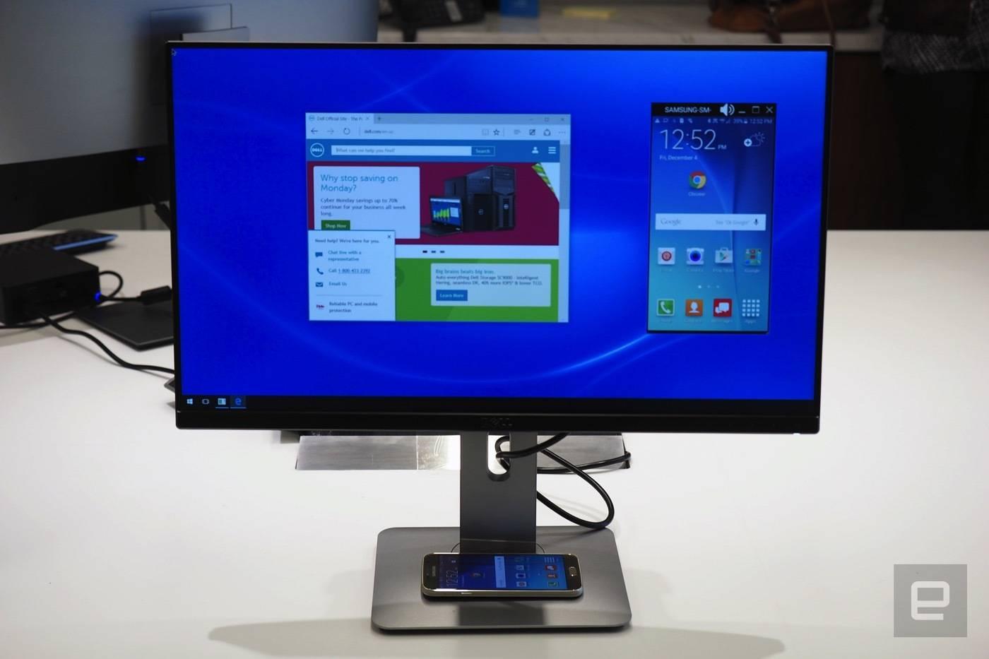戴尔的无线显示器,支持 Miracast 连接,图片来自 Engadget。
