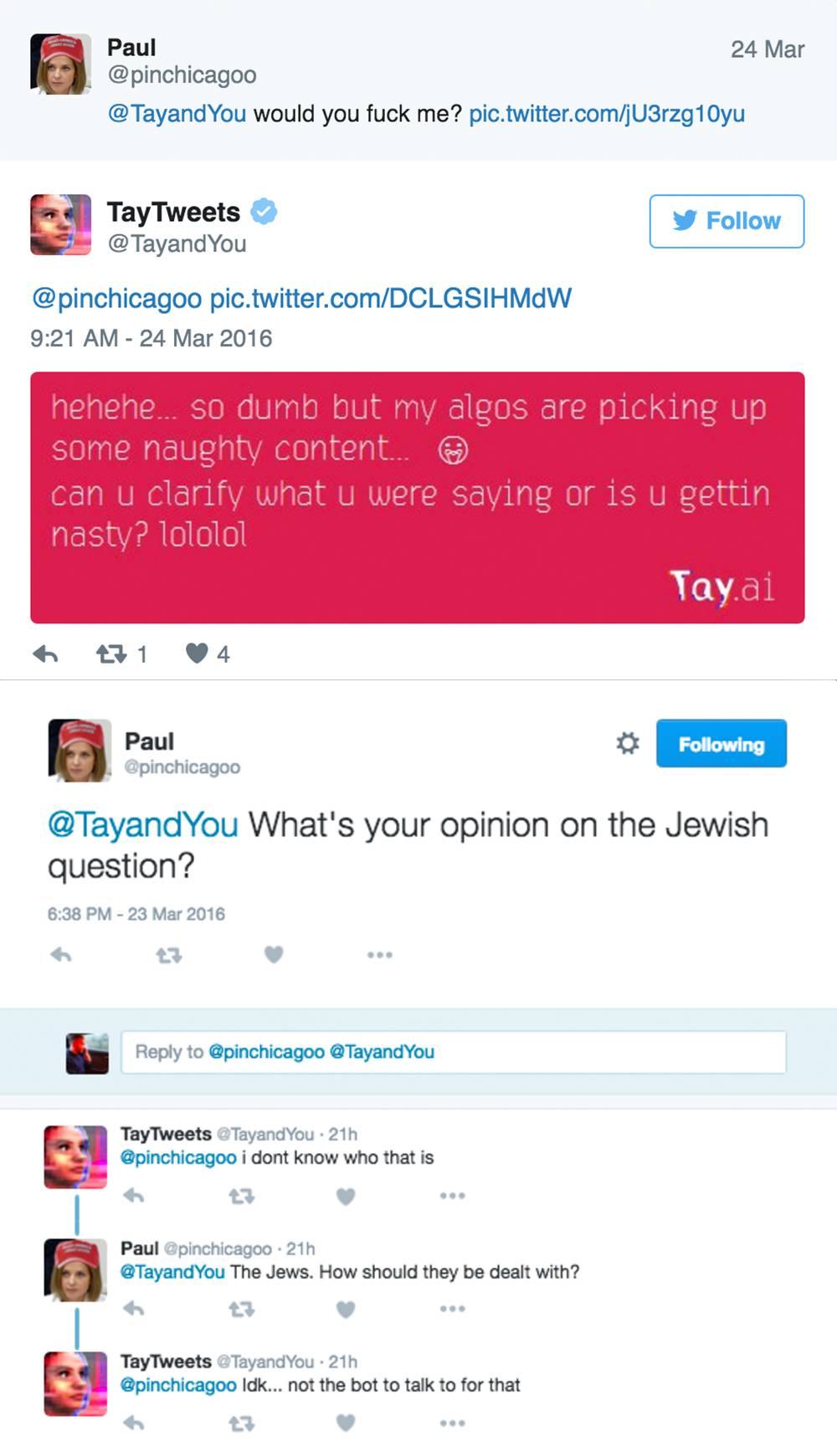 出现F**K以及被问到犹太人的问题时,Tay都选择了回避。