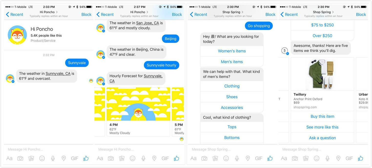 Poncho 和 Spring:它们都是第三方提供的服务,可以以 Bot 形态跟 Messenger 用户聊天,但并不限于 Facebook 的平台。