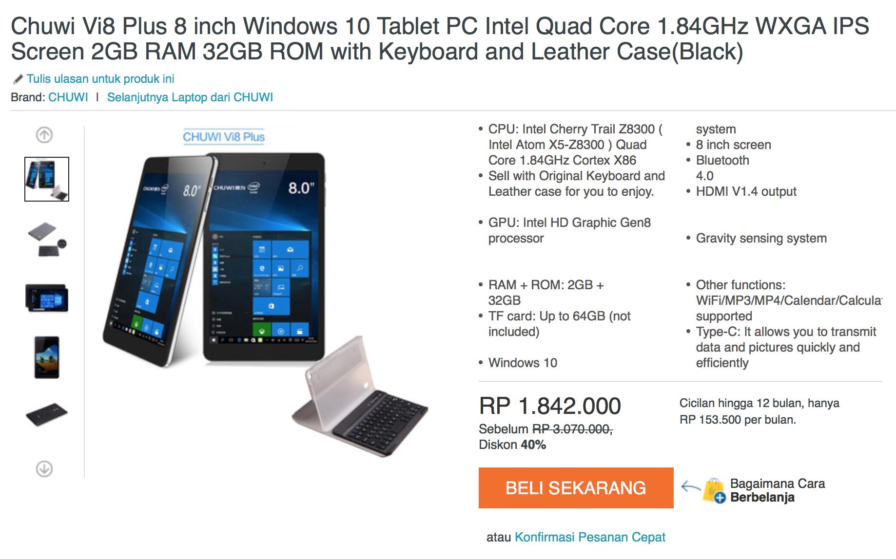 一台驰为二合一电脑,售价约人民币921元