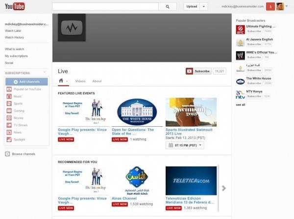 YouTube Live 2011 年刚上线时的样子