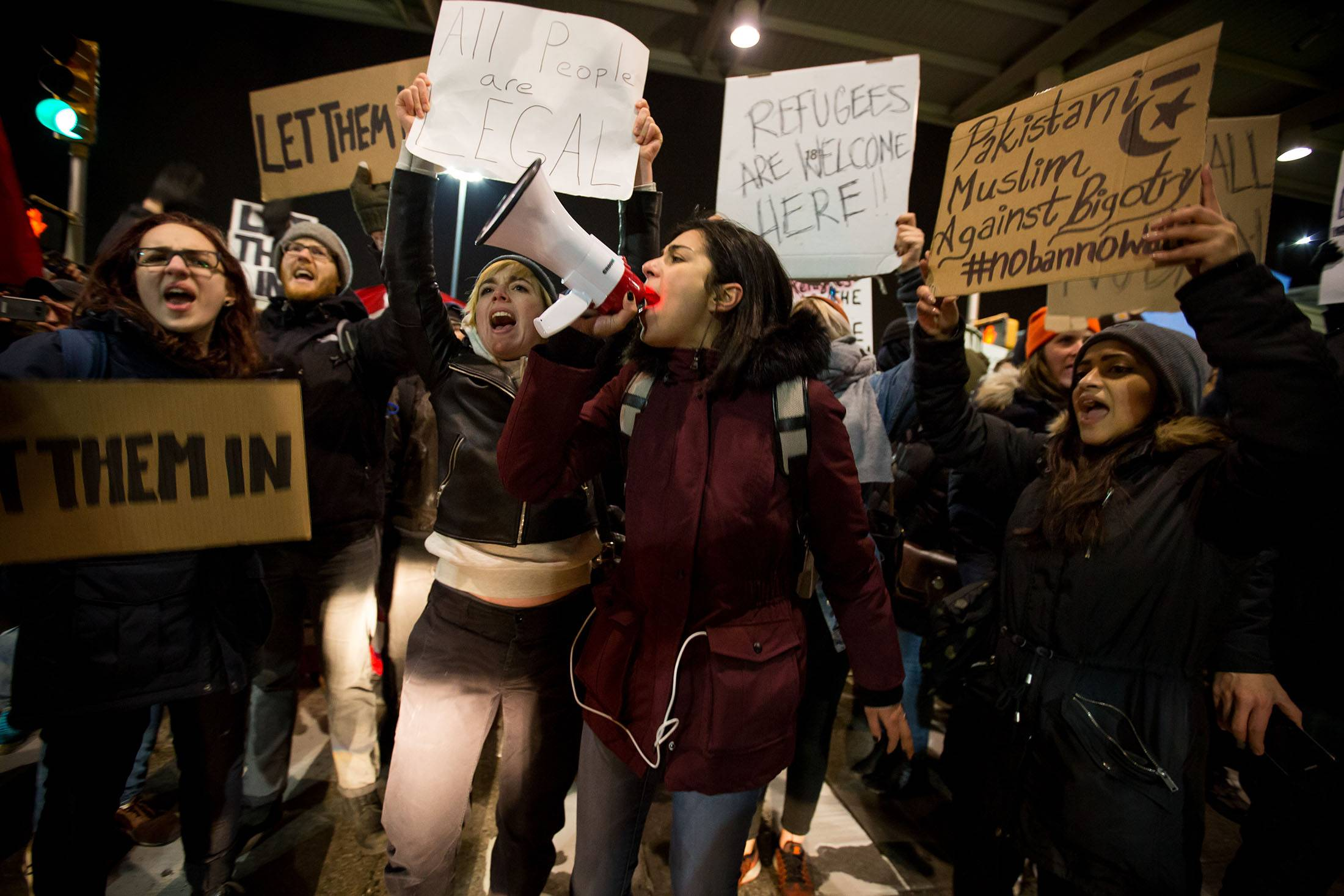 Demonstrators Protest At JFK Airport As White House Defends Immigrant Ban