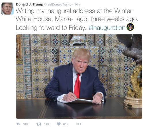 配文:在我的冬宫——Mar-a-Lago 里撰写我的就职演说!