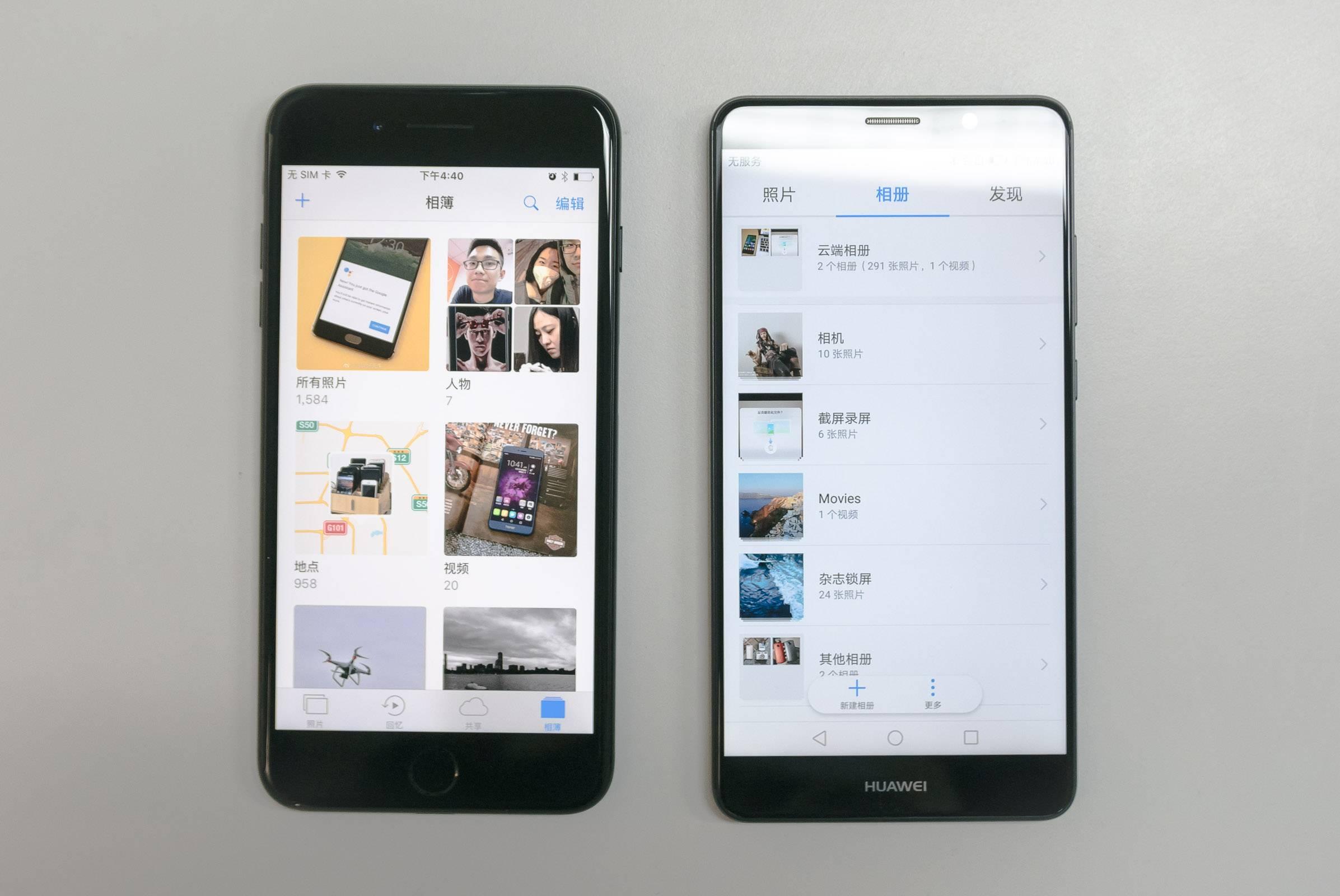 iPhone 7 Plus 和 Mate 9 图库默认页面对比