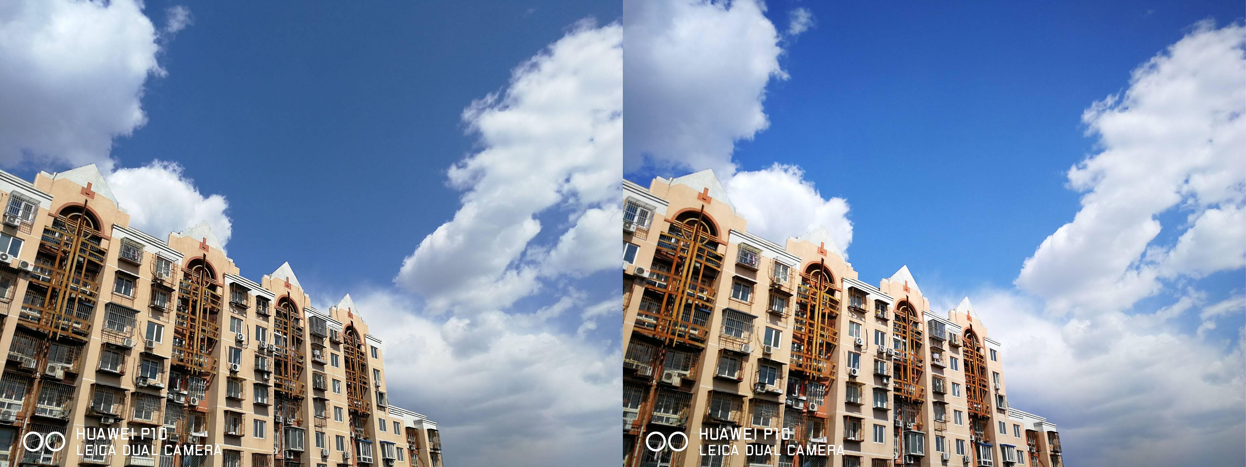 左为标准模式,右为鲜艳模式。