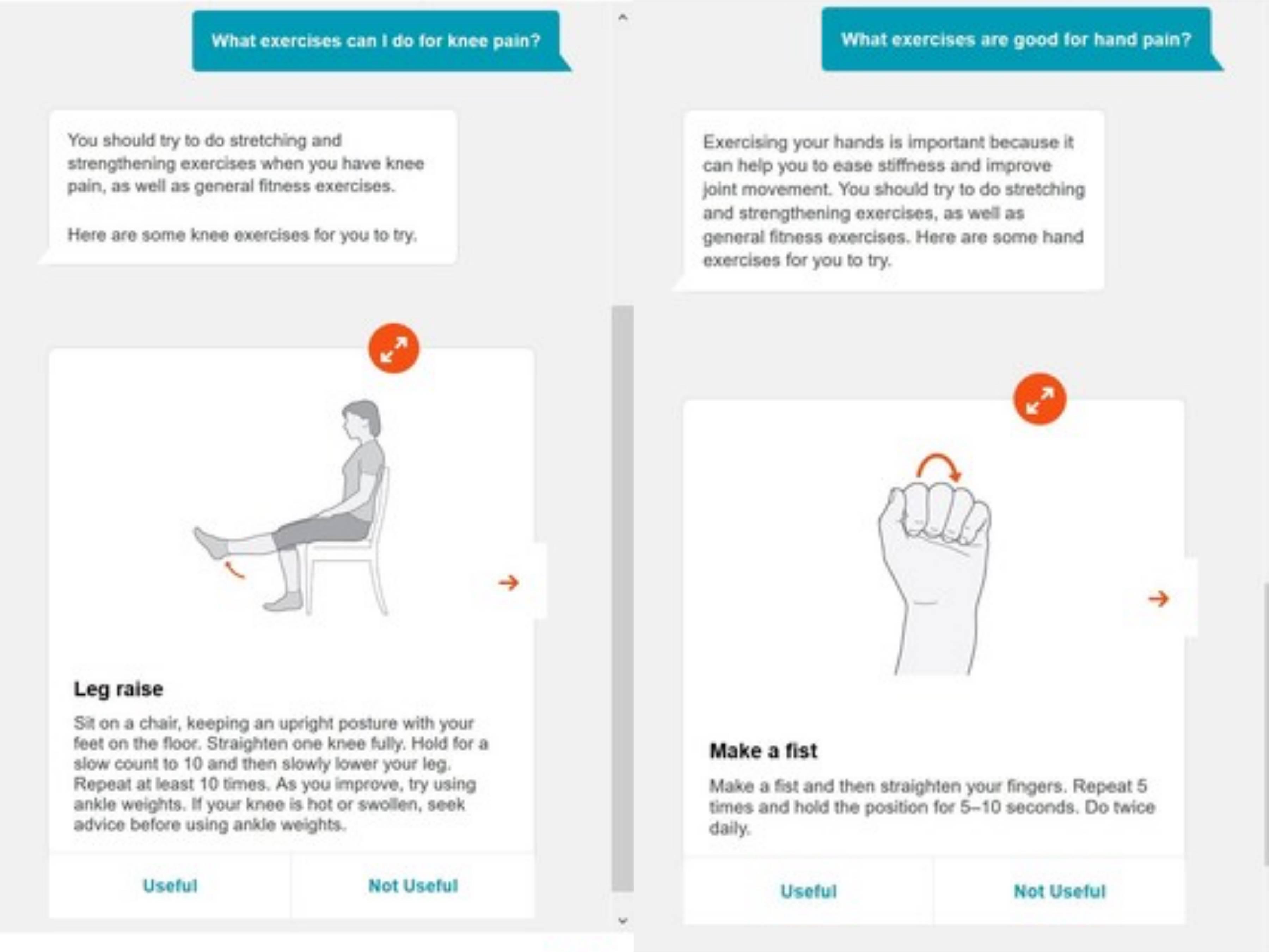 聊天机器人为膝盖疼痛和手部关节疼痛提供解决方案