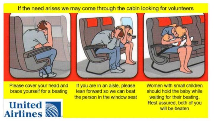 有人为美联航设计了新的安全指示卡:怎样做好挨打的准备