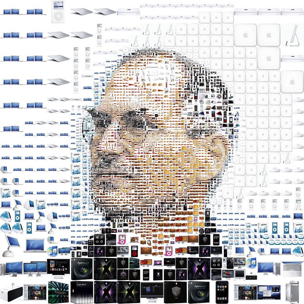 苹果产品组成的乔布斯头像—Charis Tsevis