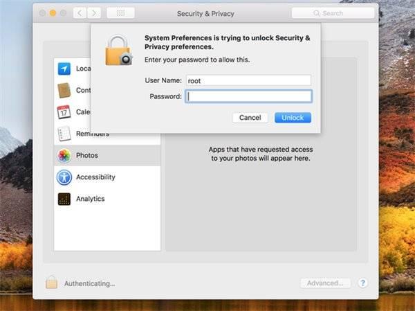 macOS 帳號密碼輸入畫面,使用 root 作為帳號可直接破解。