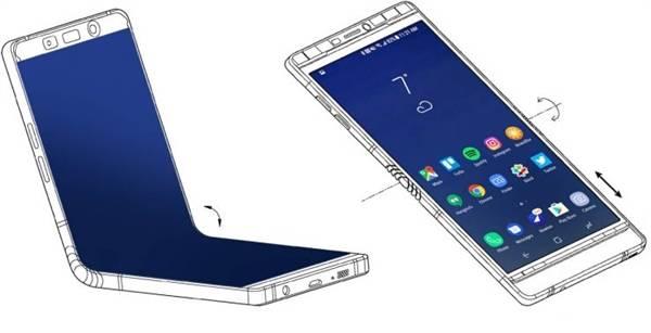 草案显示,该专利的设备会有一个巨大的显示屏,且可通过铰链向内灵活折叠屏幕,听筒,摄像头等会在设备的上半部分,而电池会在下半部分,设备也支持心率监测等功能。根据之前的消息预计,三星的Galaxy X将会配备7.3寸显示屏,具备可折叠功能,且展开后,用户看不到屏幕折叠的痕迹。