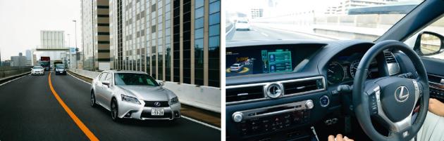 丰田研发的正在首都高速公路上实测行驶的无人驾驶汽车,此车由雷克萨斯GS改造而来。