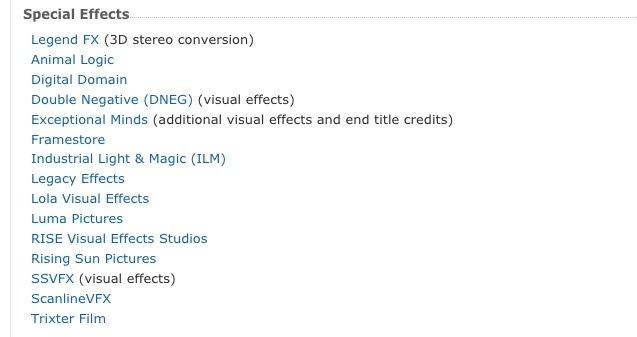 截图自 IMDb:仅《惊奇队长》一片就动用了15家特效工作室
