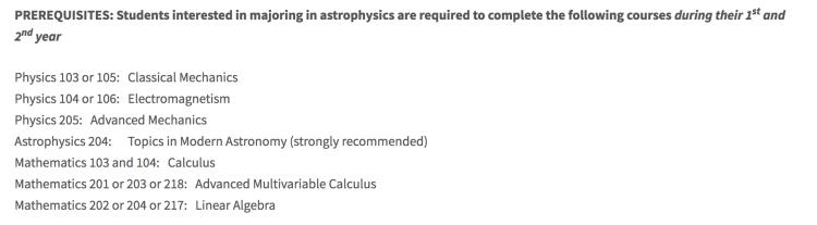 普林斯顿大学对天文系学生提出的课程要求