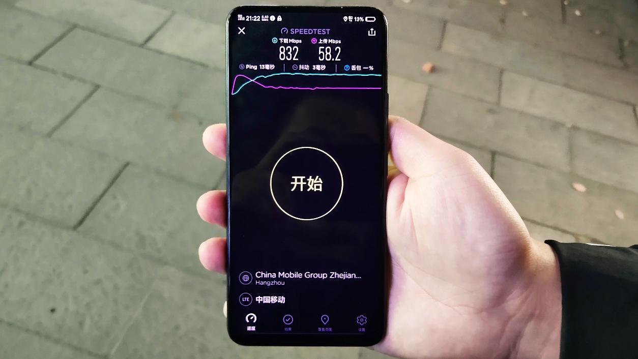 vivo与杭州移动外场测试的5G网络速率,vivo供图