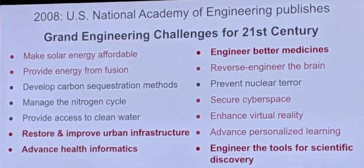 NAE 一共列出14条工程挑战,标红的是 Google AI 正在参与解决的 图/Jeff Dean