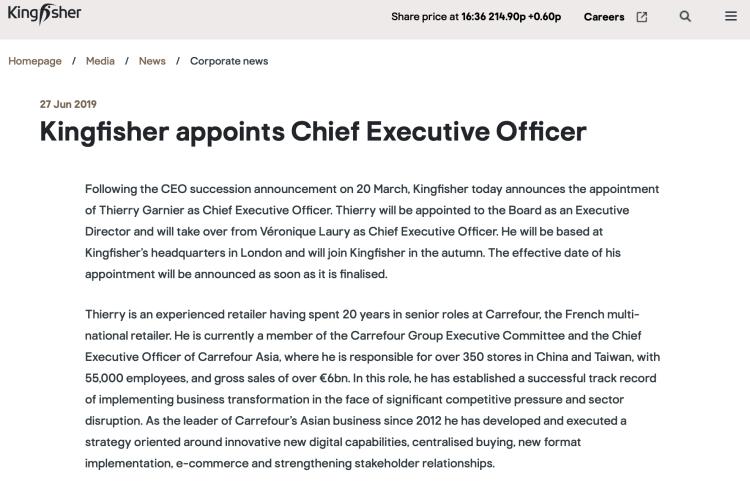 kingfisher(英国翠丰集团)发布公告显示,唐嘉年将接替Veronique Laury出任行政总裁一职,并将获董事会任命为执行董事。