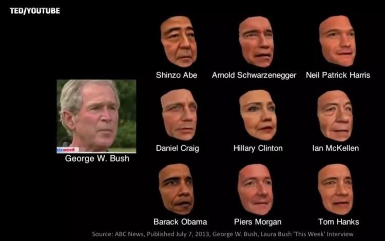 让一众名人换上布什的面部动作 图TED