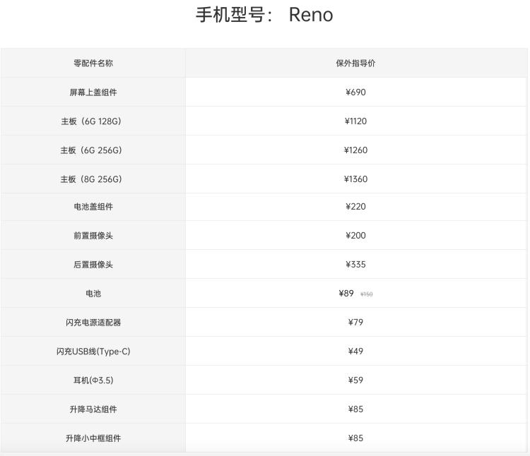 OPPO Reno标准版维修价格