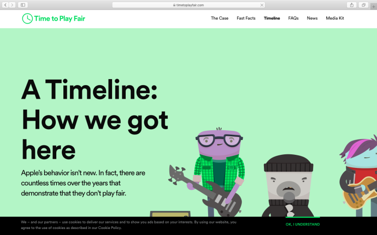 "Spotify专为抗议Apple Music制作的""Time To Play Fair""网站"
