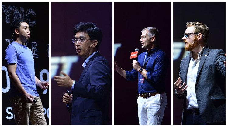 左一:Sunny Liang;左二:Derek Wang;左三:Martyn U'ren;右一:Mark Johnston