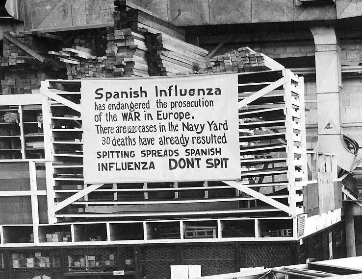 △西班牙流感已经危及欧洲战争(一战)丨海军船坞已经出现了1500个病例,已经造成30人死亡,吐痰会传播西班牙流感,不要吐痰