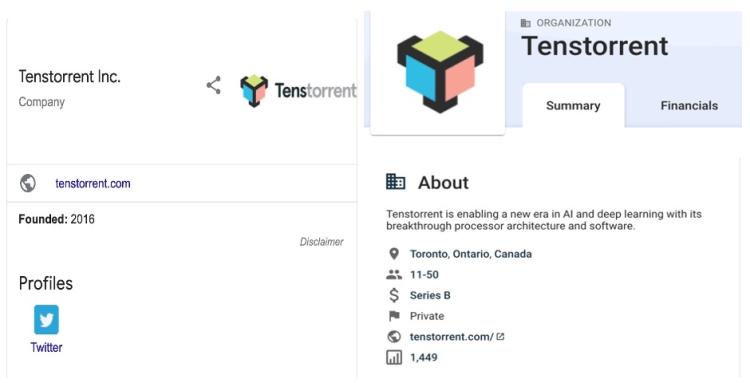 Tenstorrent寥寥无几的信息,图片截自于Google及Crunchbase