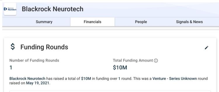 BlackrockNeurotech的融资情况,图片截自于Crunchbase