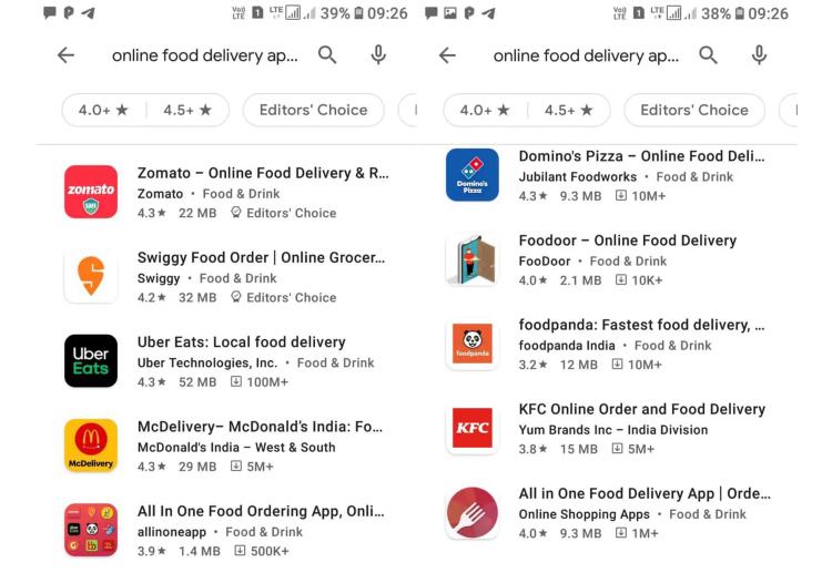 印度受欢迎的外卖平台