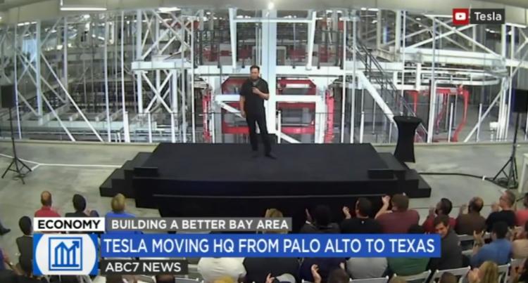 马斯克在周四的特斯拉股东大会上讲话 图片来源:ABC7 电视台