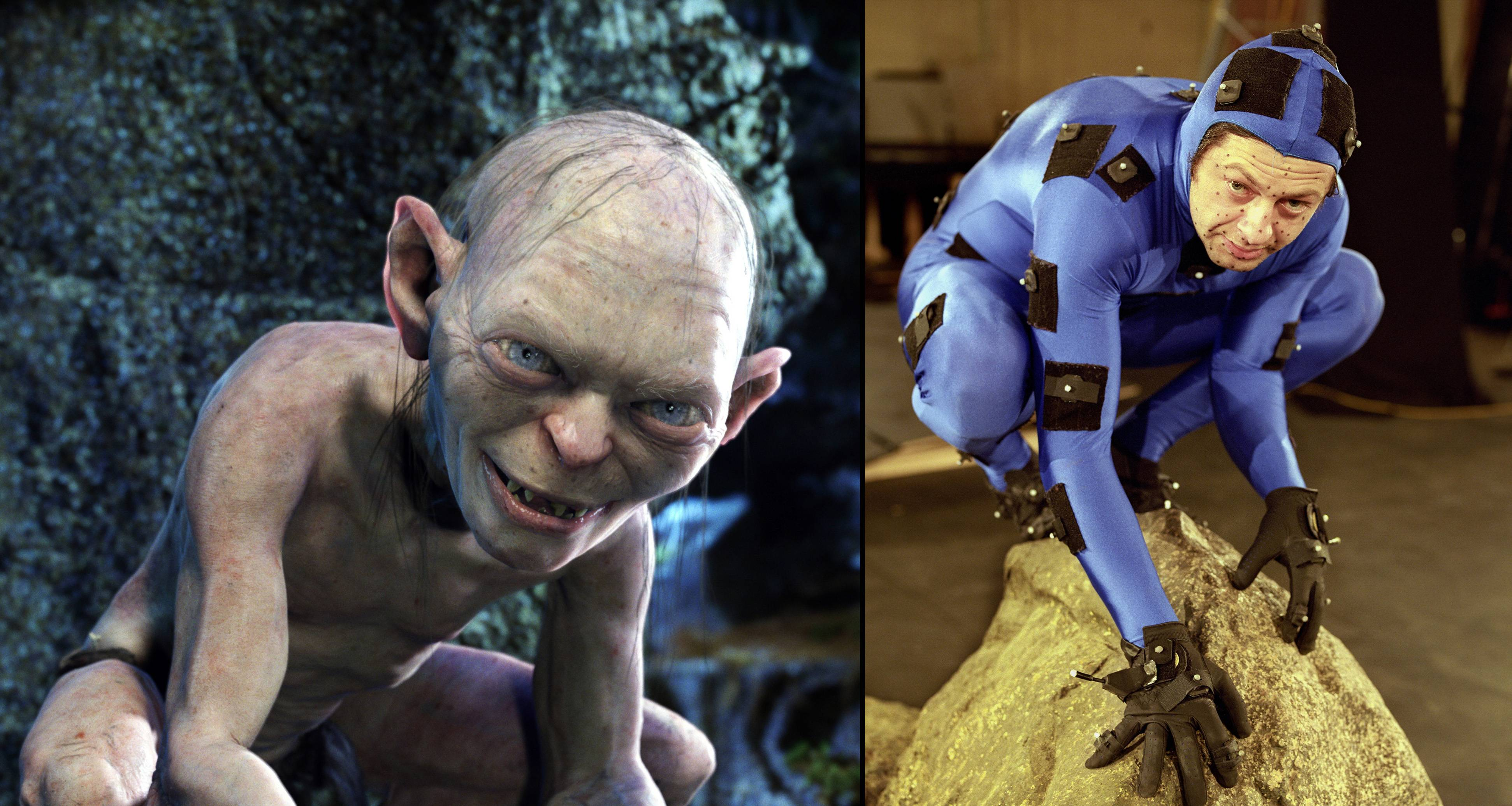 Lord Of The Rings Two Towers: the character Gollum who's role is crucial to the journey of Frodo and Sam--Gollum's movements are performed via computer program by actor Andy Serkis. Photo: New Line Cinema