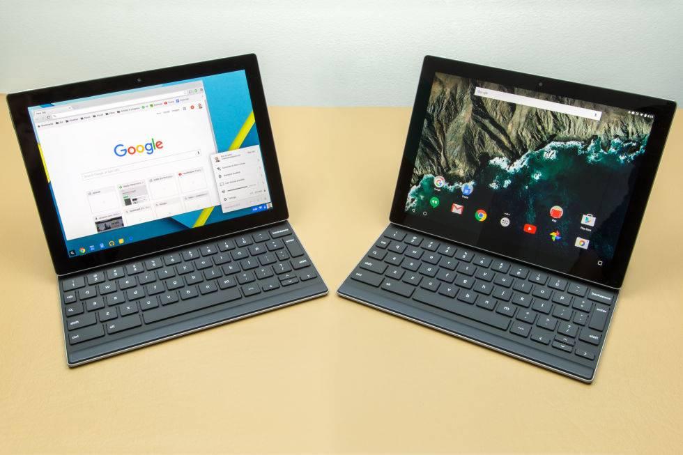 左侧为 PS 后的Chrome OS分屏效果,右侧是 Pixel C 现在的样子