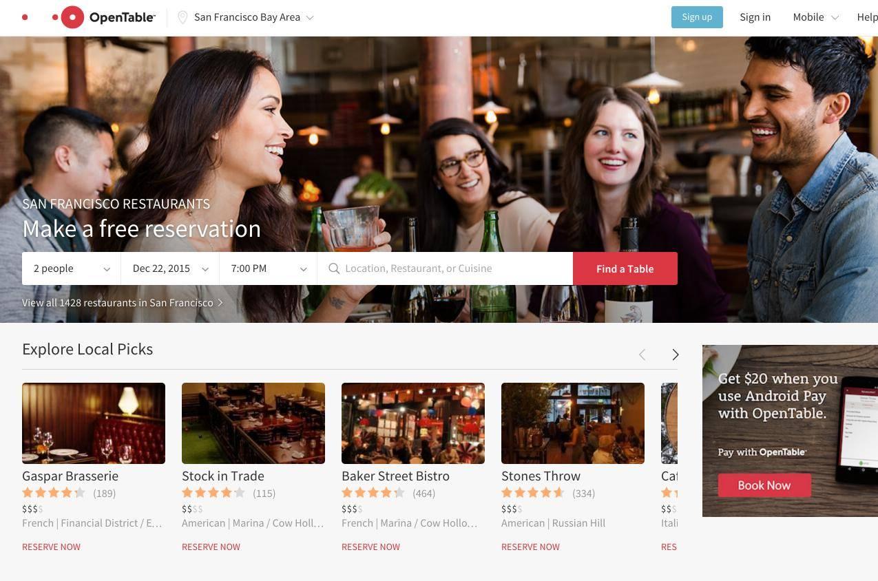 San Francisco Restaurants OpenTable