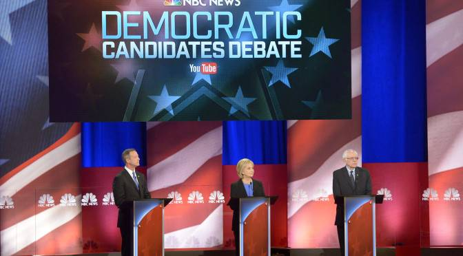 NBC NEWS - ELECTION COVERAGE -- NBC News - YouTube Democratic Candidates Debate -- Pictured: (l-r) Fmr. Maryland Governor Martin O'Malley, Fmr. Secretary of State Hillary Clinton, and Vermont Sen. Bernie Sanders appear during the