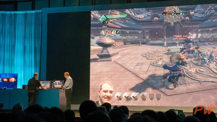 现场演示中,玩家形象实时渲染后出现在直播画面中。